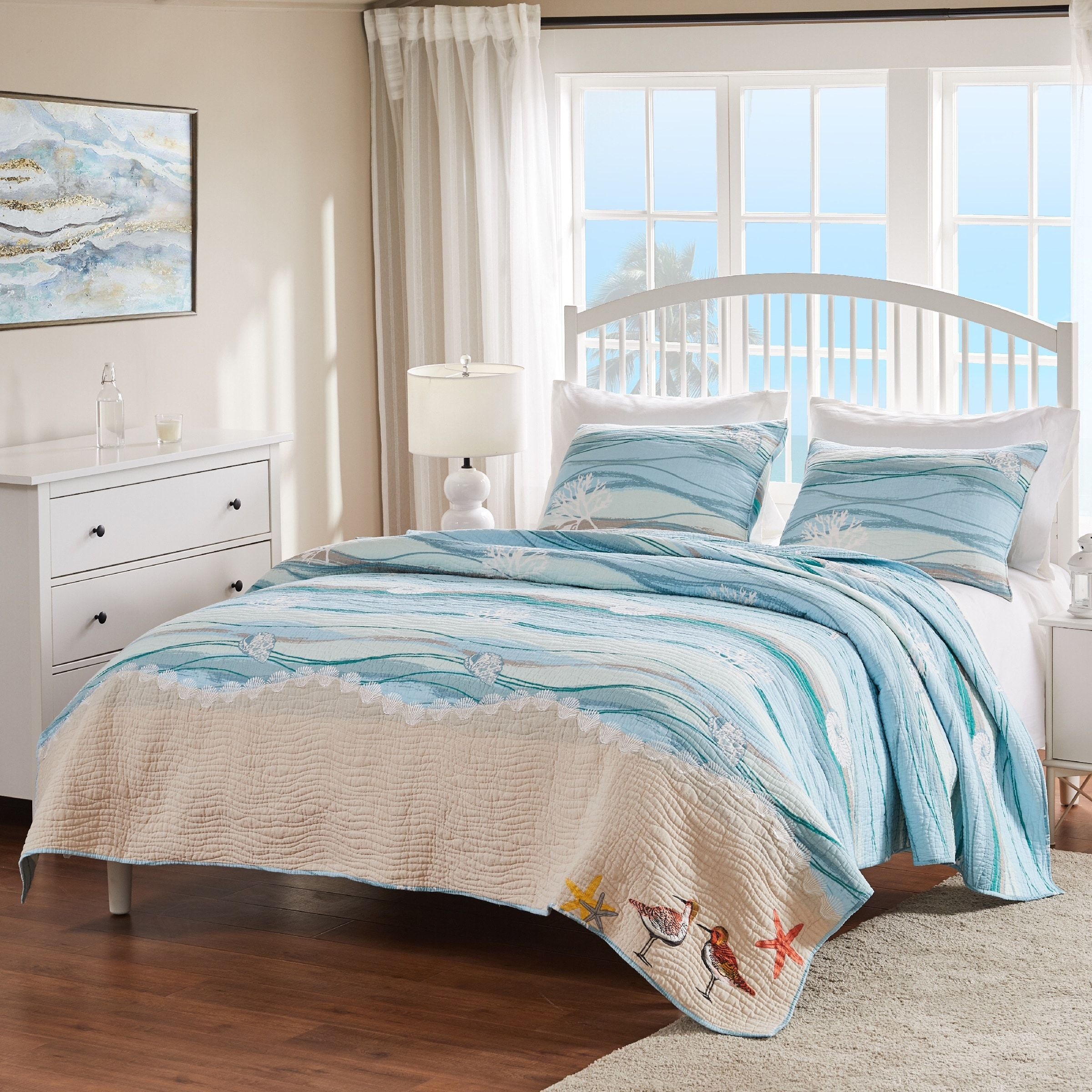 SHELLS AQUA BEACH HOUSE COASTAL COVELET BLUE WATERCOLOR WAVES 6pc QUILT SET