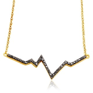 Brand New 1.22 Carat Round Brilliant Cut Black Diamond Wave Style Necklace