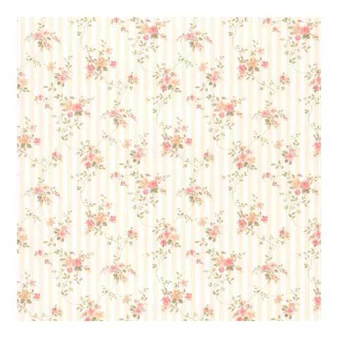 Laurie Peach Floral Stripe Wallpaper - 396in x 20.5in 0.25in