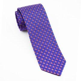 Men's 100% Silk Blue, Red Tie - blue
