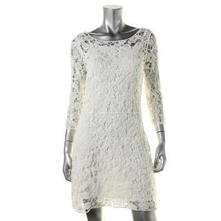 Lauren Ralph Lauren Womens Petites Cocktail Dress Crochet 3/4 Sleeves