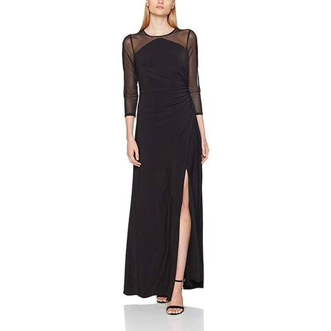 Adrianna Papell Women's Side Draped Long Gown With Illusion Long Sleeves SZ: 2M