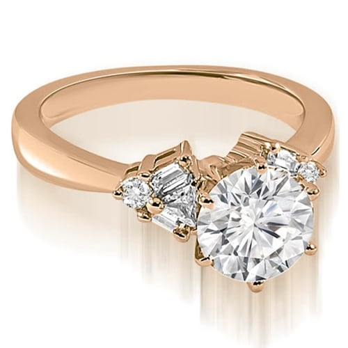 1.00 cttw. 14K Rose Gold Round Baguette Trillion cut Diamond Engagement Ring