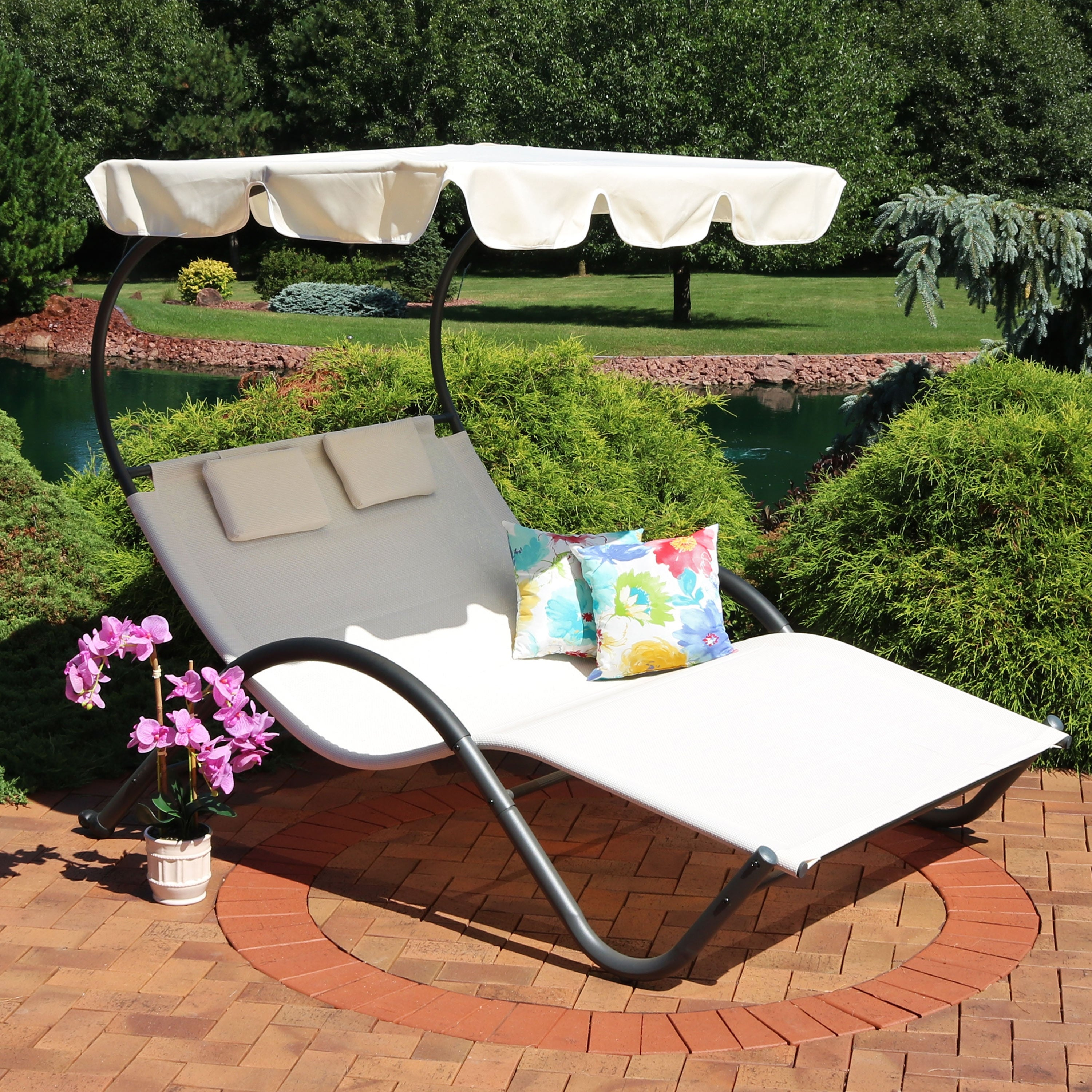 Sunnydaze Double Chaise Lounge With Canopy Shade And Headrest Pillows Beige Overstock 22890405