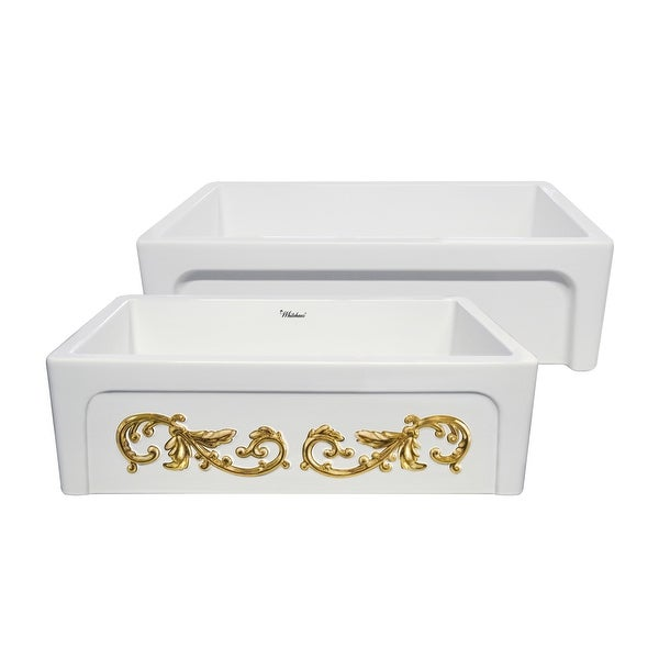 "Whitehaus WHSIV3333OR St. Ives Ornamental 33"" Dual-Apron Reversible Farmhouse Single Basin Fireclay Kitchen Sink"