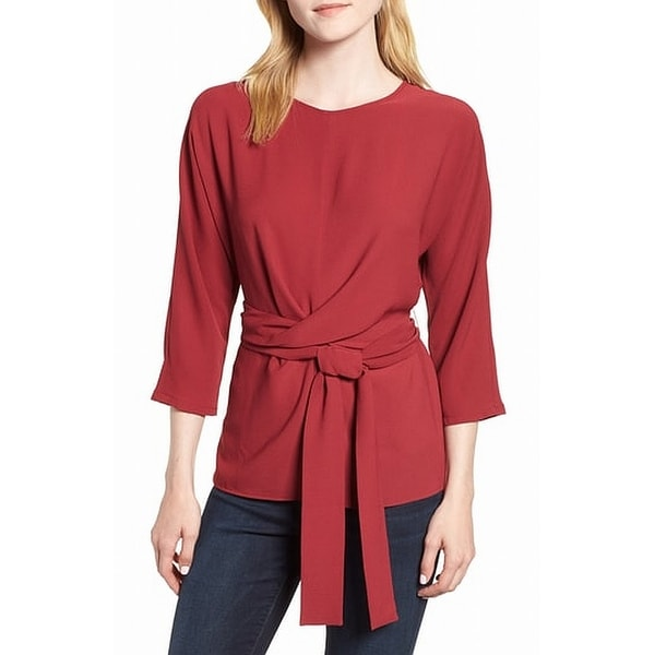 Gibson Red Womens Size Large L Tie Front Stretch Crepe Blouse