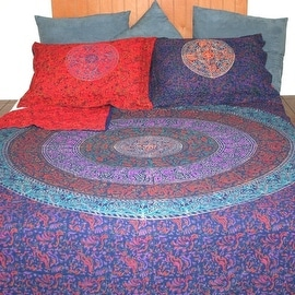 Handmade Cotton Reversible Duvet Cover Mandala Sanganer 100% Cotton Twin Full Queen King Pillow Sham