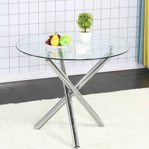 35.4 inch Tempered Glass Round Dining Table