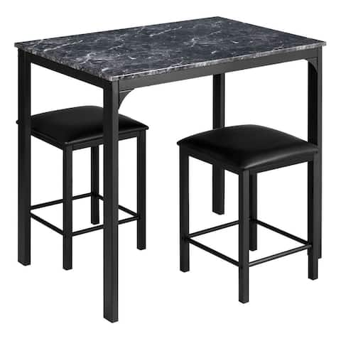 """3 Piece Counter Height Dining Set Faux Marble Table - 35.5"""" x 23.5"""" x 32.5"""" (L x W x H)"""
