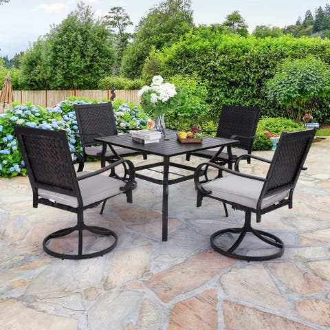 Sophia & William 5-piece Patio Dining Set, 4 Rattan Swivel Chairs with Cushion and 1 Metal Table