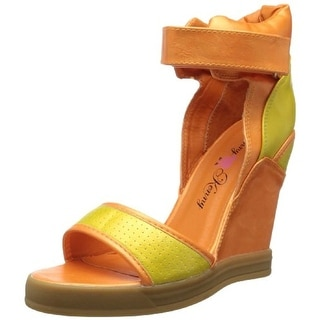 Penny Loves Kenny Womens Captive Faux Leather Perforated Wedge Sandals