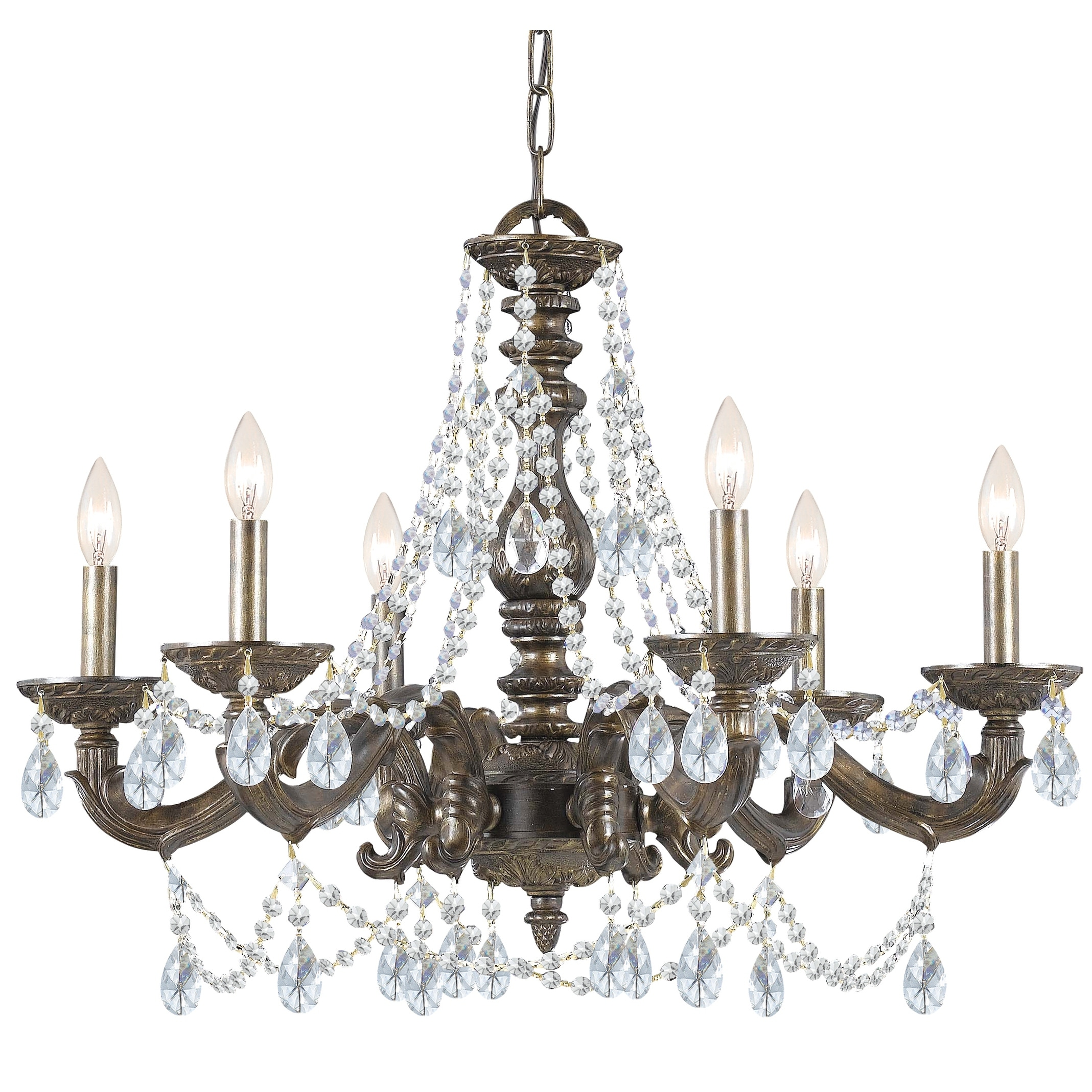 Link to Paris Market 6 Light Clear Crystal Bronze Chandelier - 28'' W x 22'' H Similar Items in Chandeliers