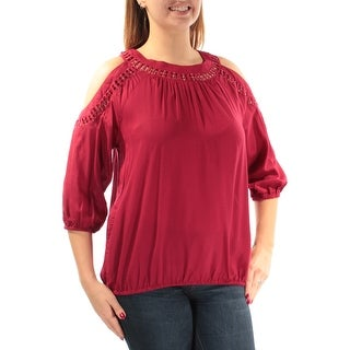 Womens Red 3/4 Sleeve Jewel Neck Casual Top Size 12