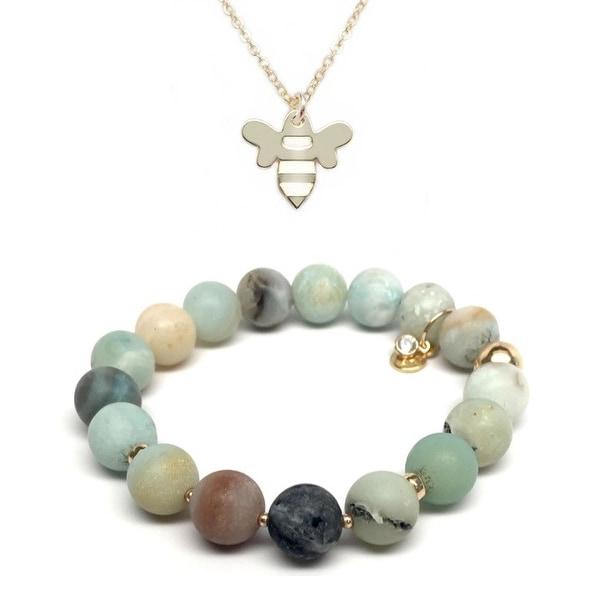 Green Amazonite Bracelet & Bee Gold Charm Necklace Set