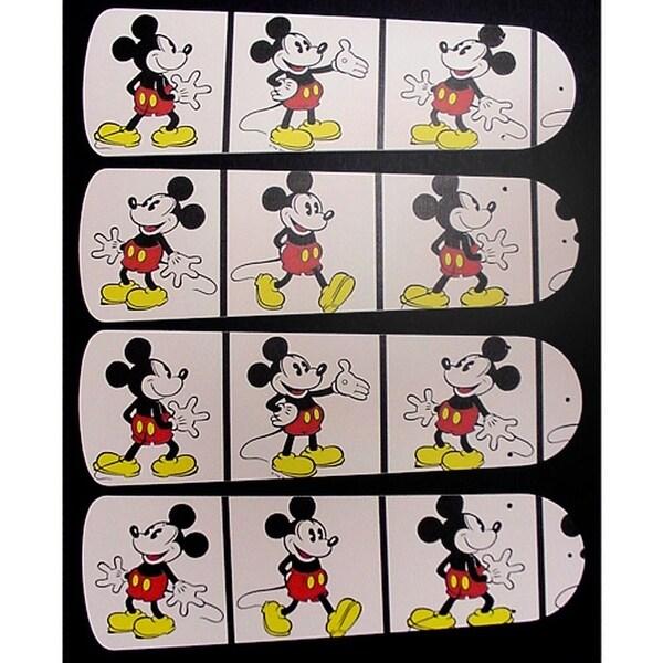 White Mickey Mouse Custom Designer 42in Ceiling Fan Blades Set - Multi