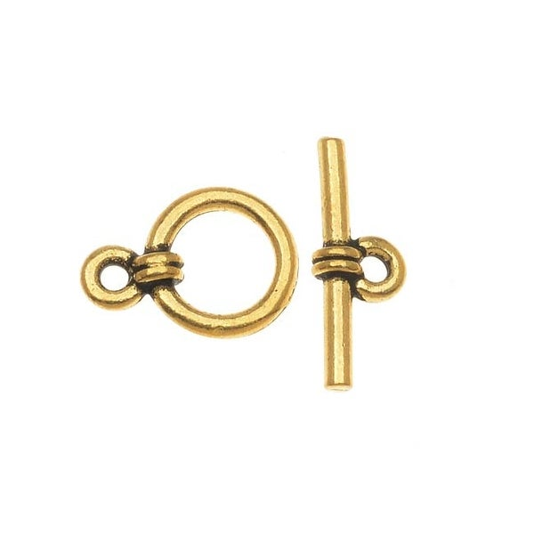 TierraCast 22K Gold Plated Pewter Sleek Wrap Toggle Clasp 8.5mm