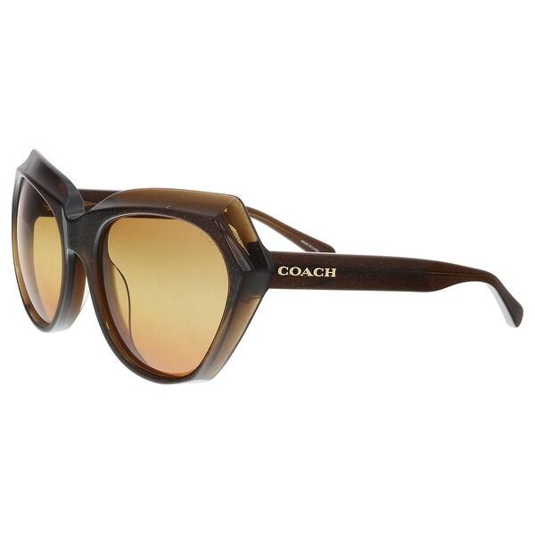 8d94dbd744fbb Shop Coach HC8193 5425W8 Brown Glitter Cat Eye Sunglasses - 55-19 ...
