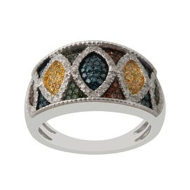 Brand New 0.70 Carat Round Brilliant Cut Multi Color Diamond Designer Ring