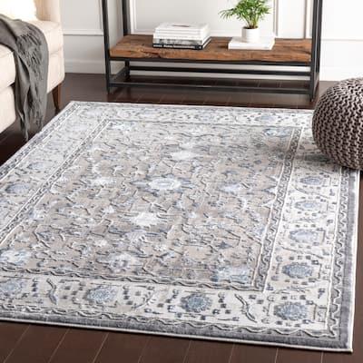 "Safira Blue & Grey Traditional Area Rug - 6'7"" x 9'6"""