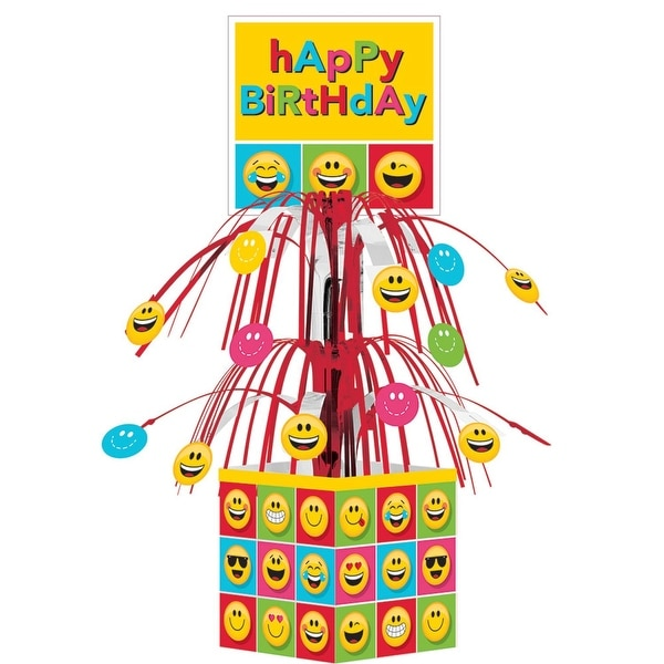 Club Pack of 6 Yellow and Red Happy Birthday Table Top Emoji Centerpieces 19""