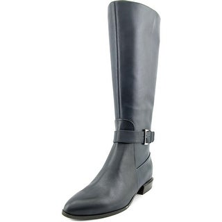 Nine West Diablo Wide Calf Women Round Toe Leather Blue Mid Calf Boot