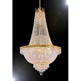 Swarovski Crystal Trimmed French Empire Chandelier - Gold
