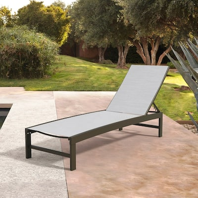 """Outdoor All Weather Curved Design Adjustable Chaise Lounge Chair for Patio, Beach, Yard, Pool - 75.79"""" L x 24.61"""" W x 13"""" H"""