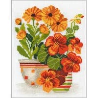 """7.75""""X10.25"""" 10 Count - Nasturtiums & Marigolds Counted Cross Stitch Kit"""