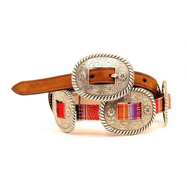 Nocona Western Belt Womens Conchos Aztec Leather Multi-Color