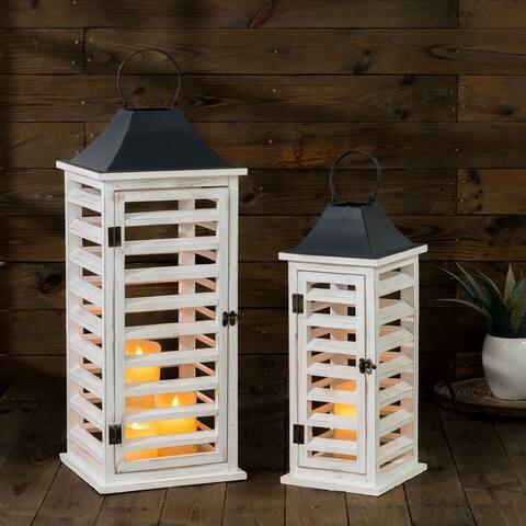 Glitzhome Set of 2 Wash White Farmhouse Wooden Shutter Lanterns