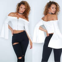 Fashion Womens Off The Shoulder Flare Sleeve Shirt Tops Casual Tops Blouse
