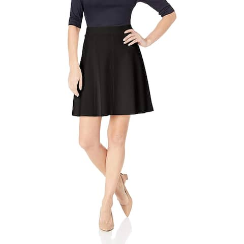 Three Dots Women's HBY3250 Ponte Flared Skirt, Black, Small, Black, Size Small