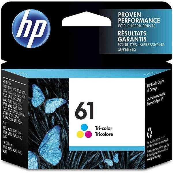 HP 61 Tri-color Original Ink Cartridge, CH562WN - Cyan. Opens flyout.