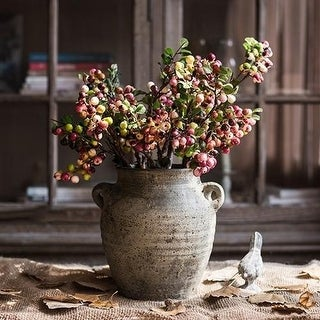 """G Home Collection Rustic Artificial Berry Stem in Yellow Red 17"""" Tall"""