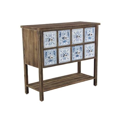 Rustic 33 x 37 Inch 8-Drawer Lattice Wooden Sideboard by Studio 350