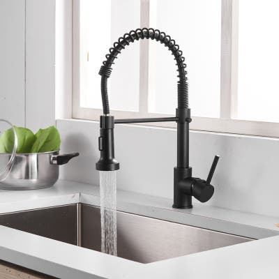 Pull Down Spray Swivel Kitchen Faucet w/ 1 Handle 2 Function-Black