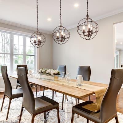 "Modern Farmhouse 3-Light Metal Orb Chandelier for Dining Room - W12""x H14"""