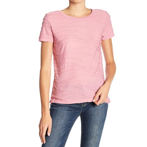 Joe Fresh Dusty Pink Womens Size Small S Wavy Stitch Crewneck Top