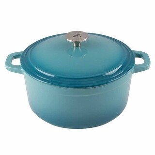 Zelancio Cookware 6 Quart Cast Iron Enamel Covered Dutch Oven Cooking Dish with Self-Basting Lid
