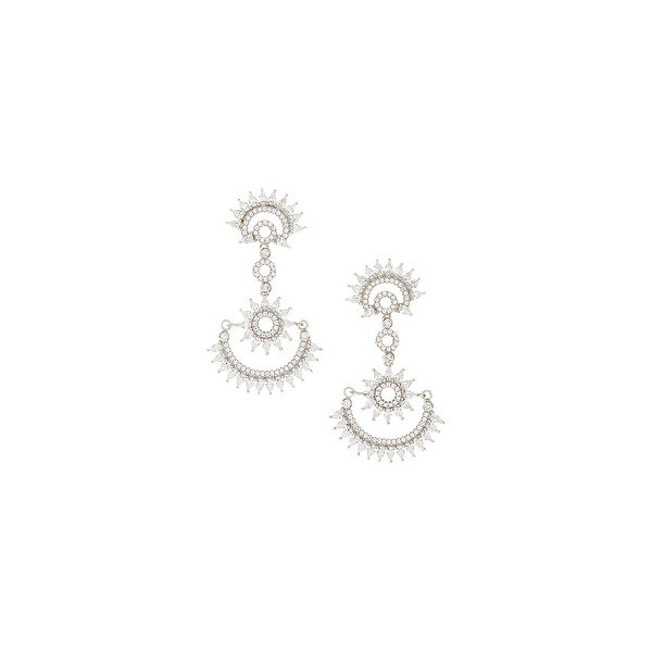 925 Sterling Silver Semicircle Spike Drop Earrings with Cubic Zirconia