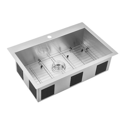 Artika 20-Gauge Single Bowl Stainless Steel Sink 90-Degree Corners with Grid, Silver