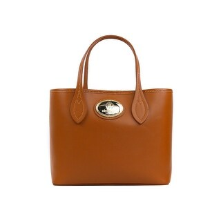Roberto Cavalli Firenze Cognac Brown Small Leather Shopping Tote Bag