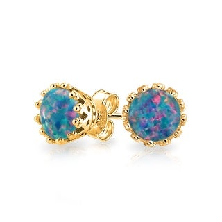 Bling Jewelry Oval Crown Simulated Black Opal Stud earrings Gold Plated 6mm - Blue