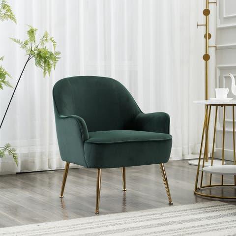 Moda Modern Soft Velvet Material Green Ergonomics Accent Chair