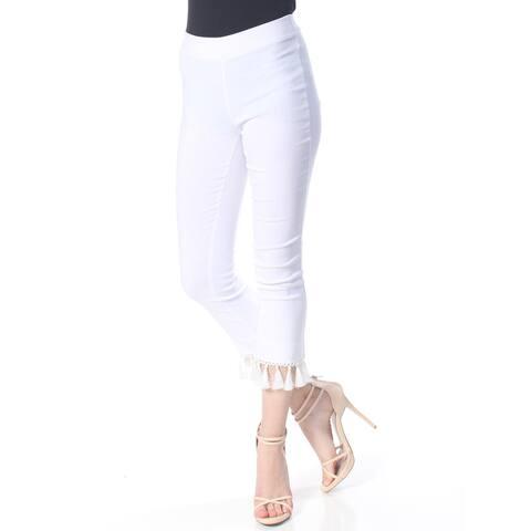 XOXO Womens White Fringed Pants Size 2