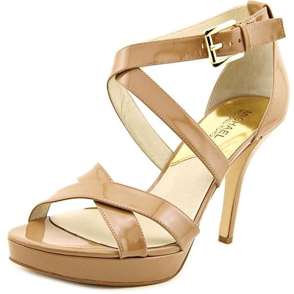 Michael Michael Kors Evie Platform Women Patent Leather Tan Platform Heel