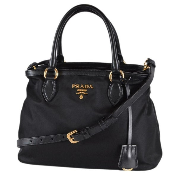 a19815a5bfad Prada 1BA173 Tessuto Nylon Leather Black Bauletto Handbag W/Crossbody Strap