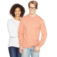 Hanes Adult Beefy-T Long-Sleeve T-Shirt - Size - L - Color - Candy Orange