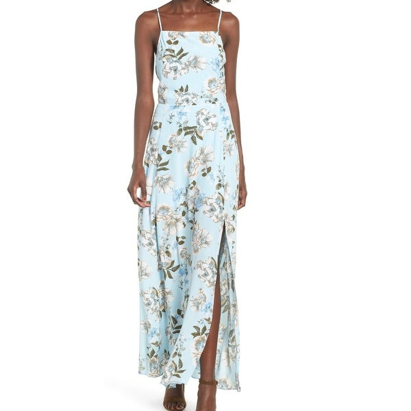 Leith Womens Large Floral Print Side Slit Maxi Dress
