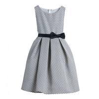 Sweet Kids Little Girls Black Polka Dots Jacquard Special Occasion Dress 2-6